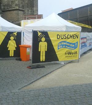 Mobile Duschen für den Marathon